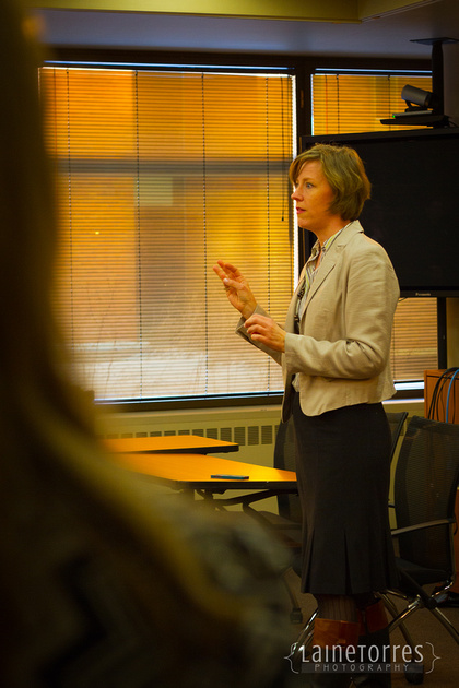 Teresa instructs students to now the type of event, research who will be there and work on your presentation accordingly.