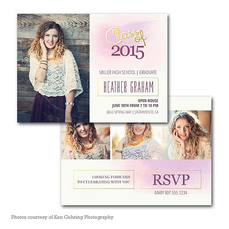 high school senior photo graduation and announcement cards
